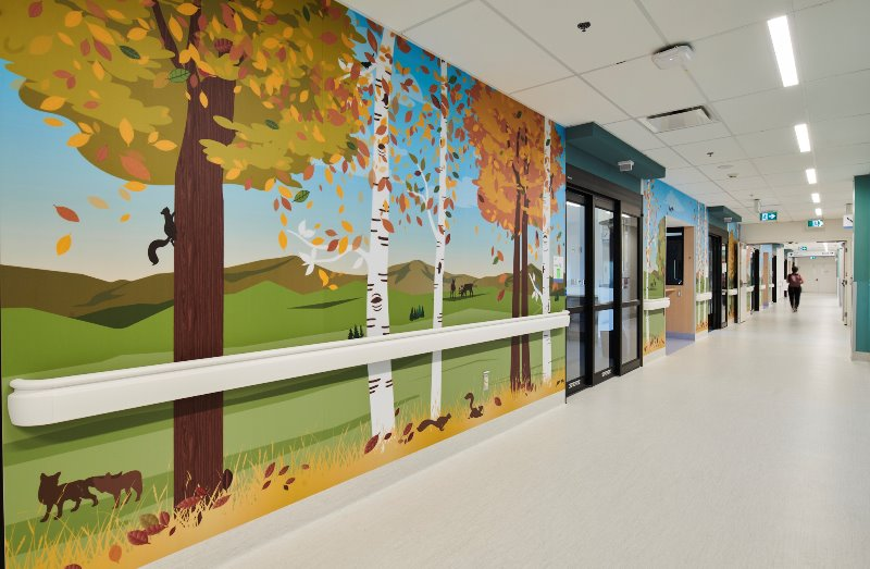Purposeful art in the hallways of the new Sunny Hill Health Centre at BC Children's Hospital